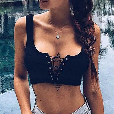 Women's Sexy Strapless Solid Bandage Cross Up Sleeveless Short Tank Tops Vest