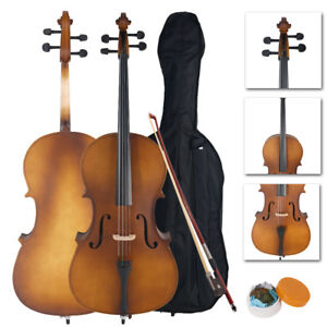 New 4/4 Professional Natural Wood Color Cello for Beginner +Bag+Bow+Rosin+Bridge