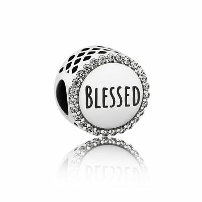 NEW 2018 Authentic PANDORA Bead Blessed Clear CZ Openwork Charm ENG792016CZ_3