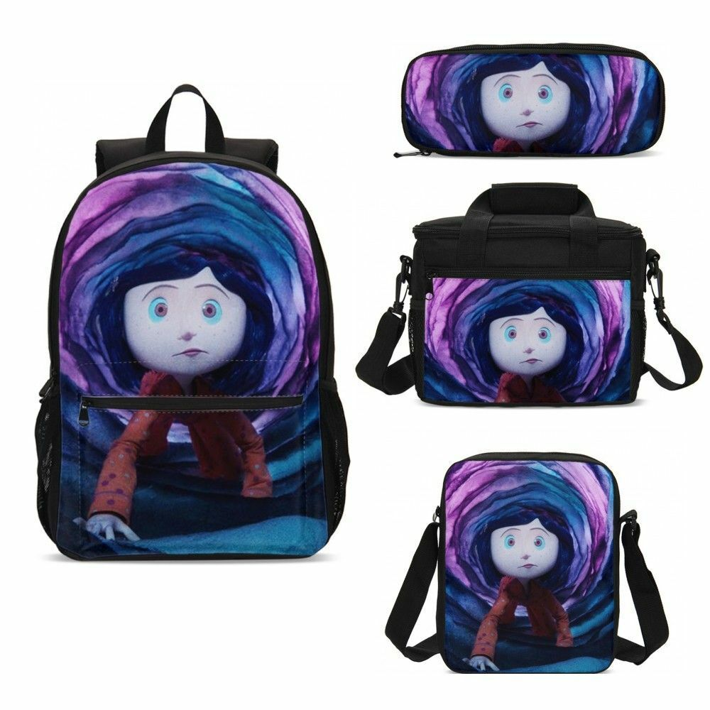 Movie Coraline Kids School Backpack Lunchbox Sling Bag Pen Case Student Gift Lot Ebay