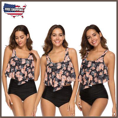 Women Two Piece High Waisted Ruffle Bikini Black Flower Retro Bathing Swimsuit