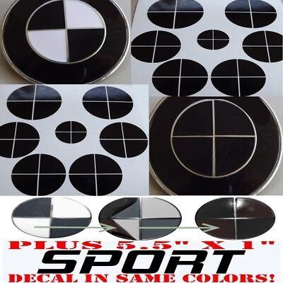GLOSS BLACK Sticker Overlay +SPORT vinyl FULL SET black out Fit All BMW Emblems