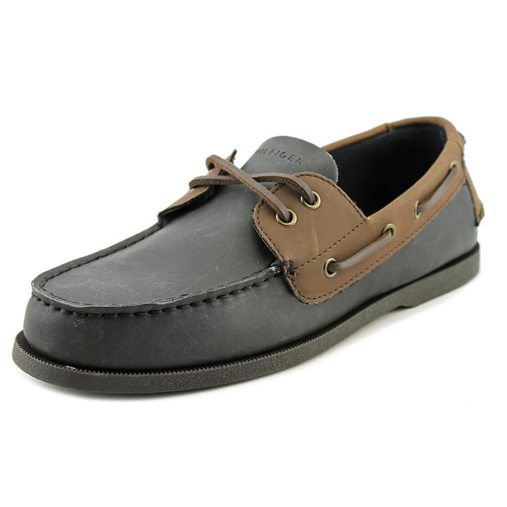 807071207 Tommy Hilfiger Bowman Men US 10 Black Boat Shoe Blemish 17614 for sale  online