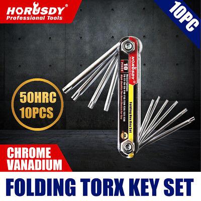 10 PC Folding Locking Torx Hex Key Allen Wrench Driver Set Tamper -
