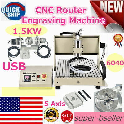 6040 5axis Cnc Usb Router Engraver Machine Engraving Metal Milling Machine 1.5kw