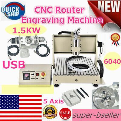 6040 5axis Cnc Usb Router Engraver Machine Engraving Metal Milling Machine 1.5kw