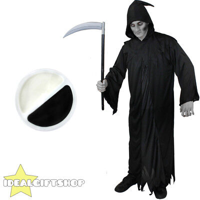 ADULTS GRIM REAPER WITH FACE PAINT AND SCYTHE HALLOWEEN FANCY DRESS COSTUME - Grim Reaper Halloween Face Paint