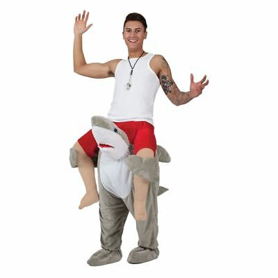 Adults Unisex Carry Me Shark Costume for Fish Sea Animal Jaws Bruce Fancy Dress