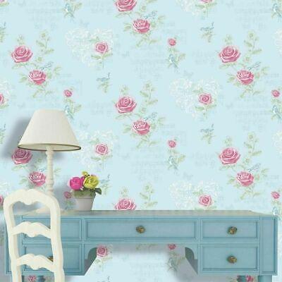 Coloroll - Duck Egg Blue & Pink Jenny Wren Birds Floral Flowers Wallpaper, M0833