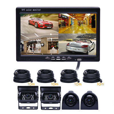 "7"" Monitor for RV Truck 4 Rear View Back up Camera Side Night Vision System Set"