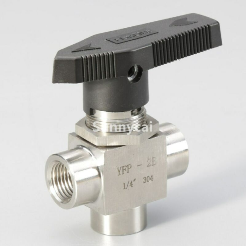 """3 way ball valve 1/4"""" Stainless Steel NPT fiting Tube L Port flow gas control"""