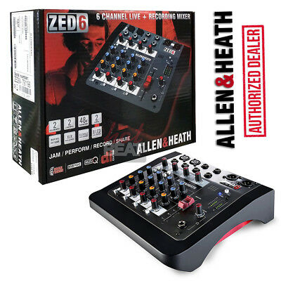 Allen & Heath ZED-6 ZED6 Compact Analog Mixer 6938122242951 48V Phantom 110-240V