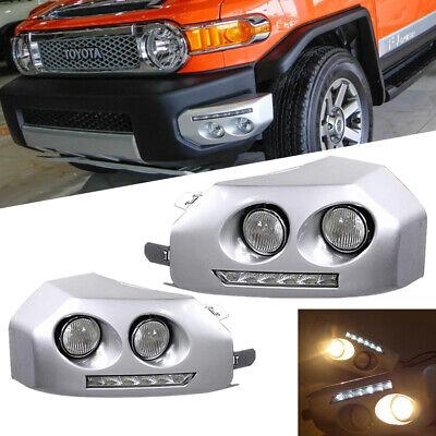 For 2007-2014 TOYOTA FJ Cruiser Driving Bumper LED Fog Lights DRL Lamps Pair
