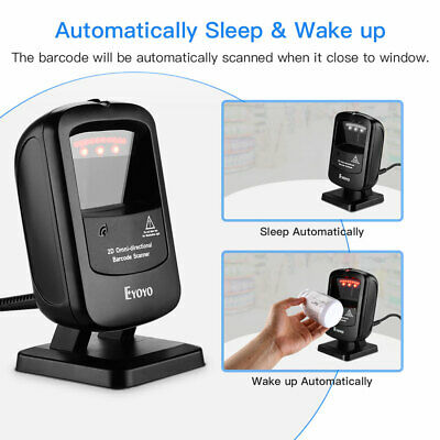 Eyoyo 1d 2d Desktop Barcode Scanner Omnidirectional Hands-free Usb Wired Reader