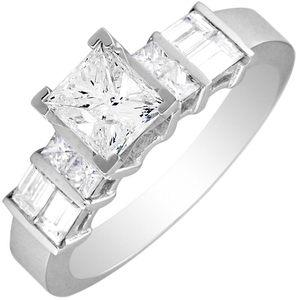 GIA Certified Diamond Engagement Ring 1.44 CTW Princess & Baguette 14k Gold