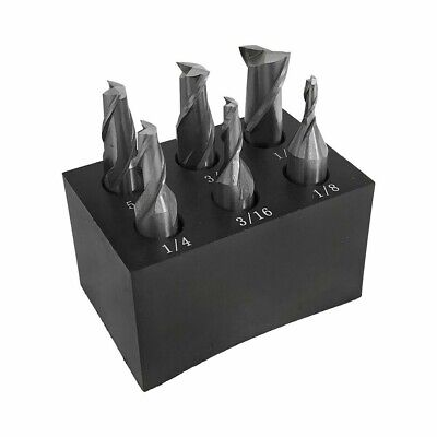 6 Pc 38 Shank 2 Flute End Mill Set Single End 18 - 12 With Holder
