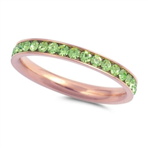 Rose Gold Peridot Eternity Band Stainless Steel Ring Sizes 4