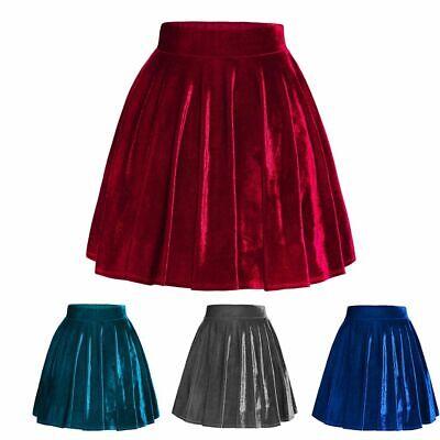 Women's Vintage Velvet Stretchy Flared Pleated A-Line Circle Mini Skater Skirt