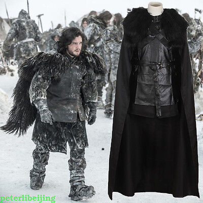 Game of Thrones Jon Snow Cosplay Halloween Fancy Party Men's Costume Outfit New (Halloween Outfits For Men)