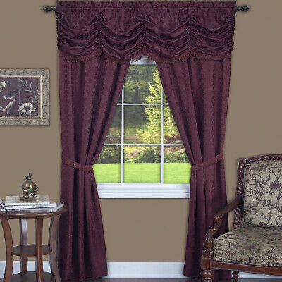 Burgundy 5-Piece Full Window Set Light Filtering Semi-Sheer Window Curtain (5 Piece Transparent Cherry)
