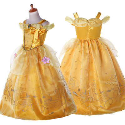 Kinder Kostüm Prinzessin Belle Cosplay Beauty and the Beast Mädchen Partykleid