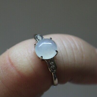 Size 6 1/4 CERTIFIED Natural (Grade A) Gorgeous Icy Jadeite Jade S925 RING #248