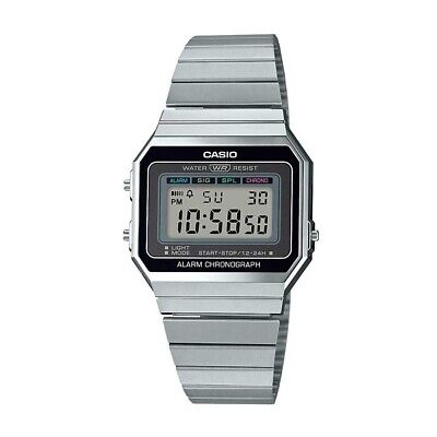 Casio A700W-1A, Digital Watch, Chronograph, Alarm, Day/Date, Thin Case