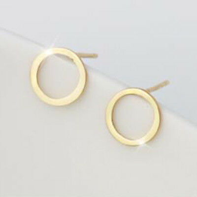 TPD Solid 14K Yellow Gold Circle Shape Stud a Pair of Earrings w/ Silicone plugs