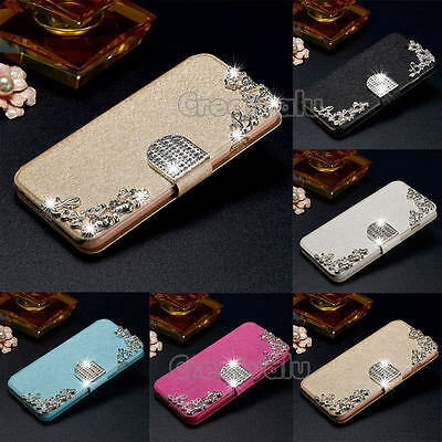 Leather Diamonds Wallet Flip Magnetic Stand Case Cover Apple iPhone & Samsung