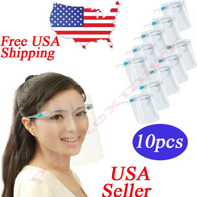 ✅ 10 SET Face Shield Guard Mask Safety Protection With Glasses Reusable Anti fog