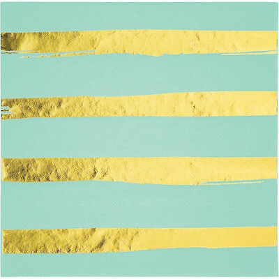 16 x Luxury Mint & Gold Metallic Shiny Foil Stripe Paper Napkin 3 ply