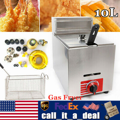 10l Commercial Countertop Gas Fryer 1 Basket Liquefied Petroleum Gas Deep Fryer