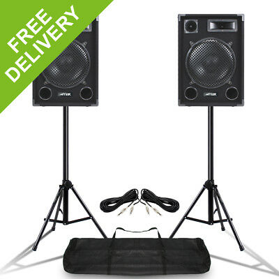 "Pair MAX SP12 12"" Mobile DJ Disco Party PA Full Range Speakers w/ Stands 1400W"