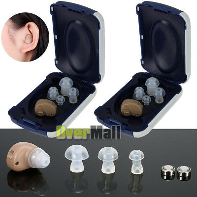 2 X Small In Ear Invisible Best Sound Amplifier Adjustable Tone Hearing Aids
