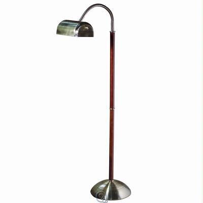 Eyestrain Reducing Floor Lamp Antique Brass & Cherry Finish 56