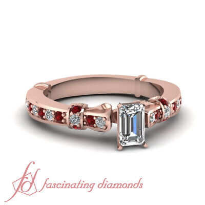 14K Rose Gold 3/4 Ct Emerald Cut Diamond & Ruby Engagement Rings For Women GIA