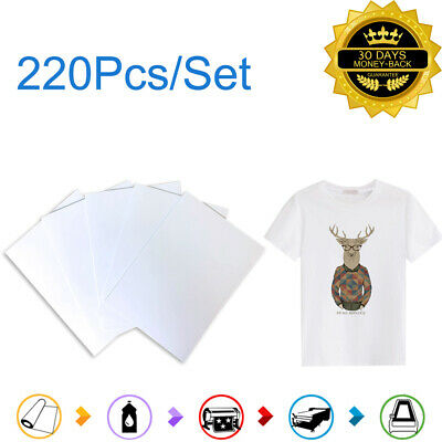 220 Sheets A4 Dye Iron On Heat Sublimation Transfer Paper T-shirt Cotton Fabric
