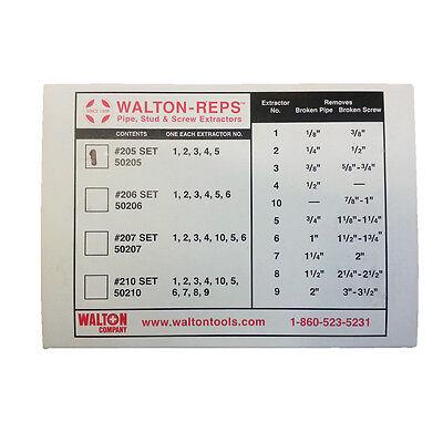NEW WALTON 50205 5 PIECE PIPE (NPT) STUD & SCREW EXTRACTOR SET FREE SHIPPING