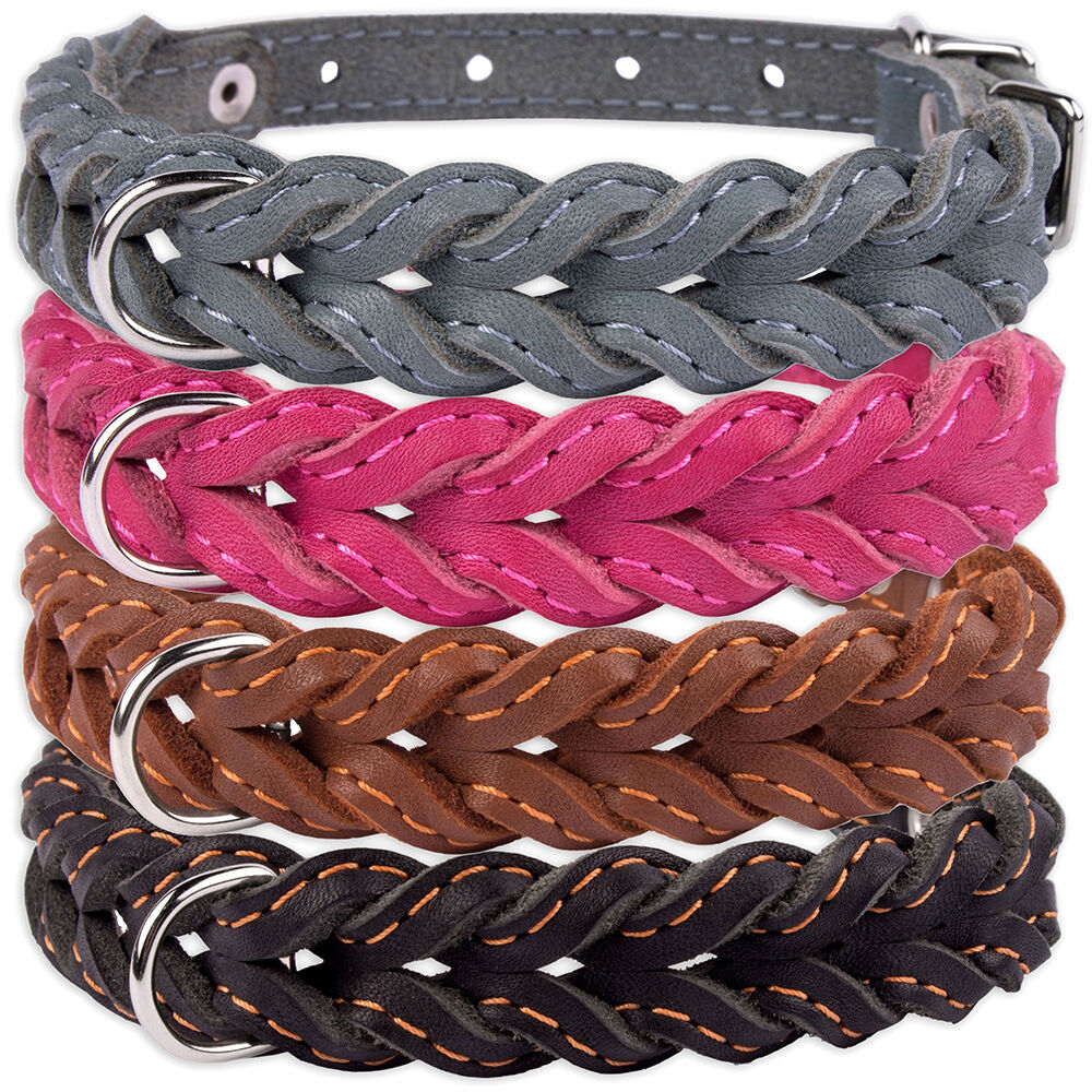 Braided Dog Collar Leather Collars for Dogs Puppy Small Medi