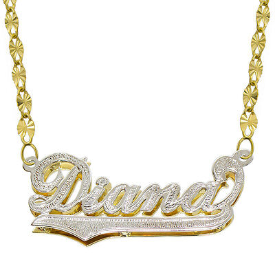 14k Two Tone Gold Necklace - 14K Two Tone Gold Personalized Double Plate 3D Name Necklace - Style 3