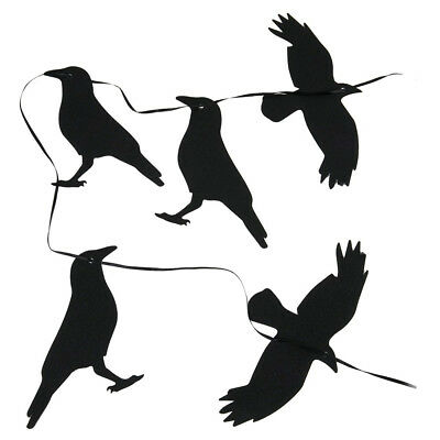 New 5 Pack Halloween Raven Silhouettes with String to Hang Glitter Birds (Halloween Raven Silhouettes)