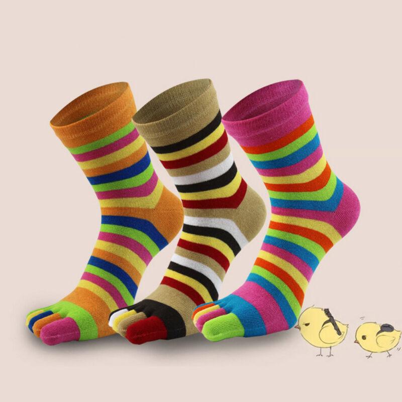 Warm Long Women Cotton Socks Five Fingers Toe Socks Rainbow
