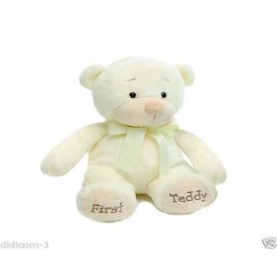 """Aurora First Teddy Bear 13"""" for New Baby, Newborn Boy or Girl in Cream"""