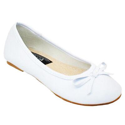 Easy USA Girls Ballerina Ballet Flats - White -Sizes 11 to 4  - Price Cut! - Girls Ballet Flats White