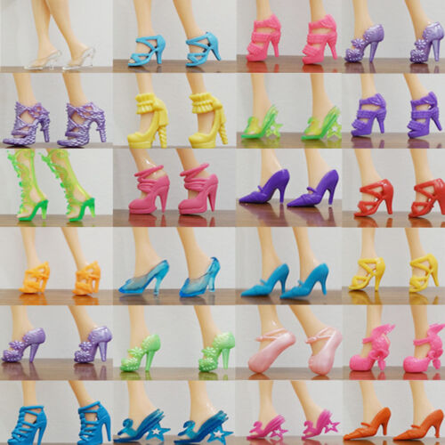 40Pairs Different High Heel Shoes Boots For Barbie Doll Dresses Clothes Random