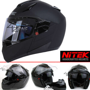 Nitek-Motorcyle-Bluetooth-Modular-Full-Face-Motorcycle-Helmet-Flat-Black-Large