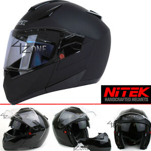 Nitek-Motorcyle-Bluetooth-Modular-Full-Face-Motorcycle-Helmet-Flat-Black-DOT-ECE