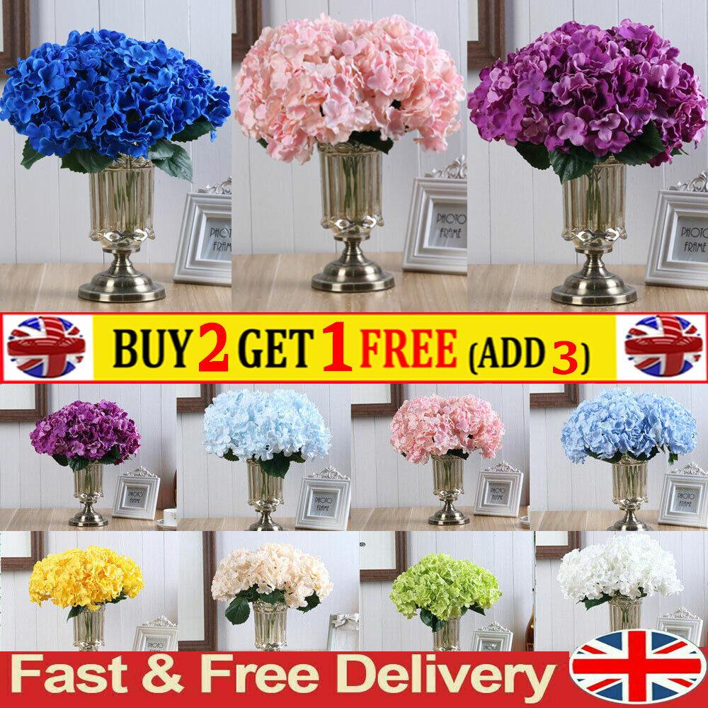 Home Decoration - 5 Head Artificial Hydrangea Fake Flowers Bouquet Wedding Party Home Garden Decor