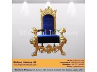 NEW Tiger King Throne Chair - Gold & Blue - Luxury French Italian Wedding Gothic Antique Furniture