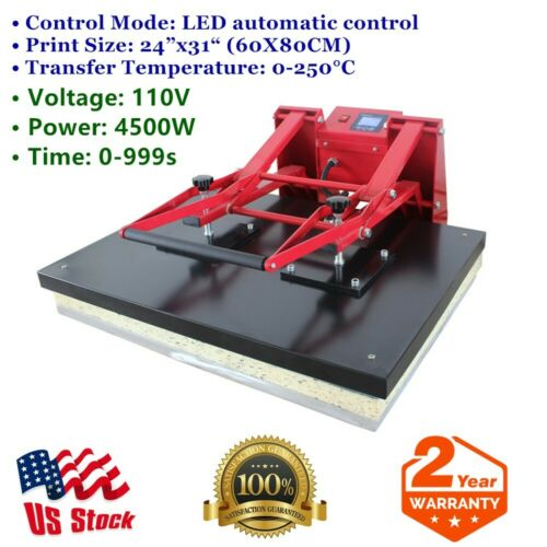 """USA 110V 24"""" x 31"""" Clamshell Manual Large Format Sublimation Heat Press Machine"""
